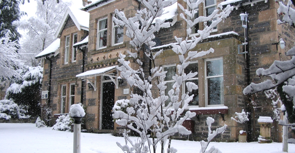 House in winter, snow, Glengarry, Kingussie, Highlands, skiing